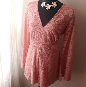 Pants - Gorgeous Lace Embellished Bell Sleeve Romper